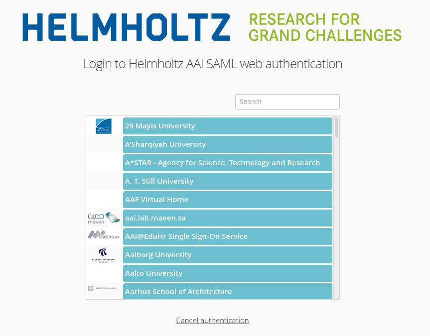 Helmholtz AAI login screen